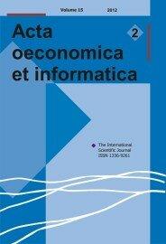 Acta Oeconomica et Informatica, AOEI, VOL. 15, No. 2/2012 - title image