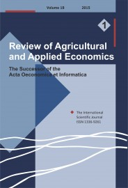 Review of Agricultural and Applied Economics, RAAE, VOL.18, No. 1/2015 - title image