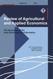 Review of Agricultural and Applied Economics, RAAE, VOL.19, No. 1/2016 - title image