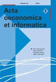 Acta Oeconomica et Informatica, AOEI, VOL. 16, No. 1/2013 - title image