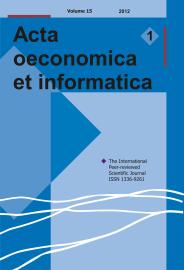 Acta Oeconomica et Informatica, AOEI, VOL. 15, No. 1/2012 - title image