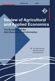 Review of Agricultural and Applied Economics, RAAE, VOL.16, No. 2/2013 - title image