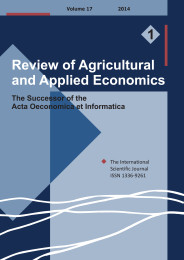 Review of Agricultural and Applied Economics, RAAE, VOL.17, No. 1/2014 - title image