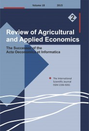 Review of Agricultural and Applied Economics, RAAE, VOL.18, No. 2/2015 - title image