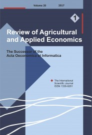 Review of Agricultural and Applied Economics, RAAE, VOL.20, No. 1/2017 - title image