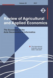 Review of Agricultural and Applied Economics, RAAE, VOL.20, No. 2/2017 - title image