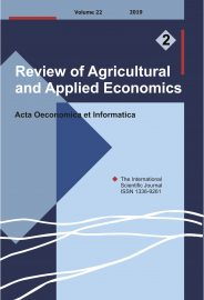 Review of Agricultural and Applied Economics, RAAE, VOL.22, No. 2/2019 - title image